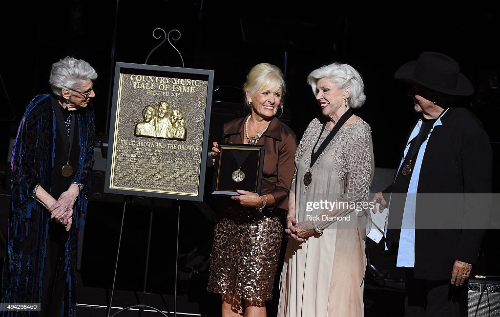 Maxine Brown, Becky Brown, Bonnie Brown, and Bobby Bare onstage during The Country Music Hall of Fame 2015 Medallion Ceremony at the Country Music Hall of Fame and Museum on October 25, 2015 in Nashville, Tennessee.