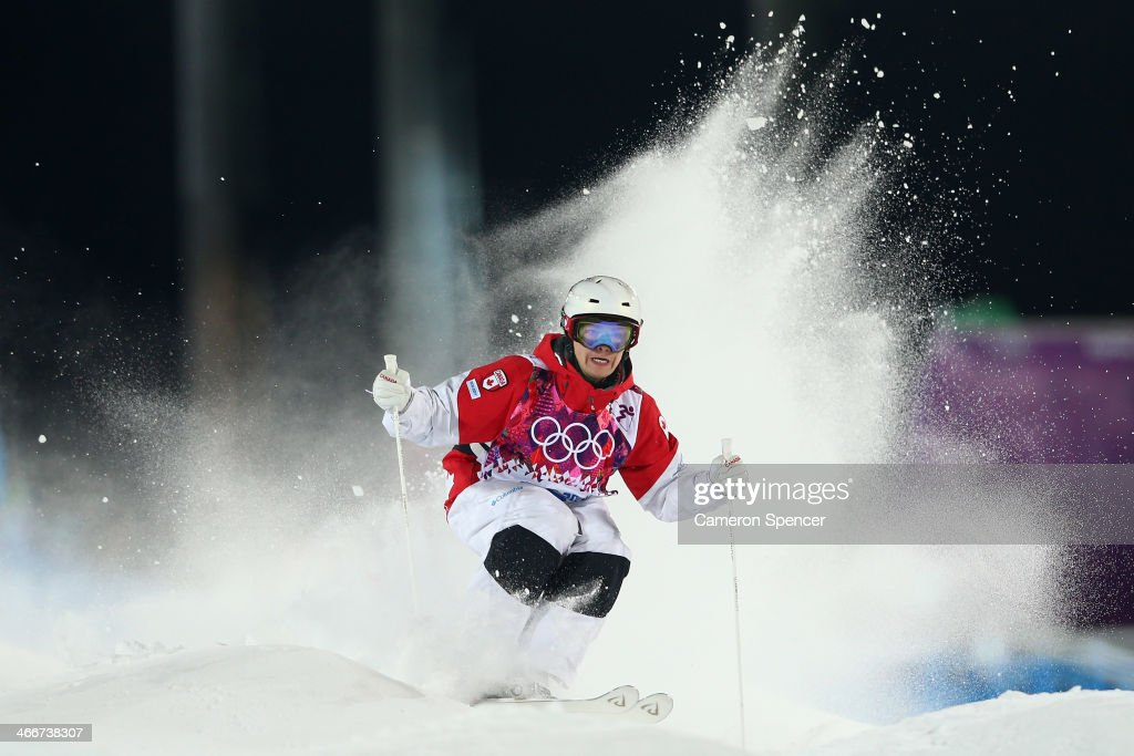 Maxine Dufour-Lapointe of Canada trains during moguls practice at the Extreme Park at Rosa Khutor Mountain ahead of the Sochi 2014 Winter Olympics on February 3, 2014 in Sochi, Russia