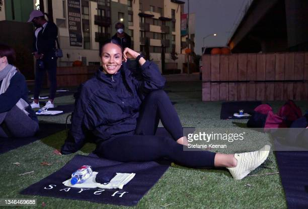 Maxine Goynes attends a work out led by Megan Roup from The Sculpt Society as Olympian Allyson Felix opens Saysh's new experiential space on October...