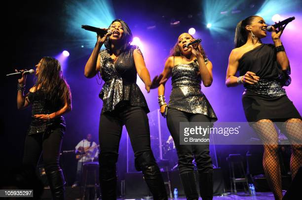 Maxine Jones Dawn Robinson Terry Ellis and Cindy Herron of En Vogue perform on stage at indigO2 at O2 Arena on October 21 2010 in London England