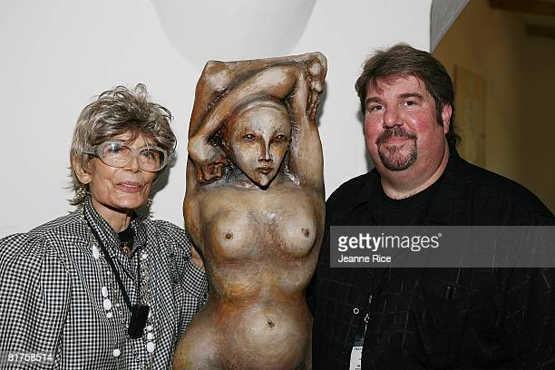 Maxine Kim StussyFrankel and Trigg Ison pose at theTrigg Ison Fine art exhibit for the work of Maxine Kim StussyFrankel at her home June 28 2008 in...