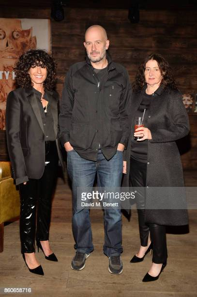 Maxine Leonard Jake Chapman and Valerie Wickes attend Beauty Papers An Evening Of Etiquette With The Chapman Brothers at The London EDITION on...
