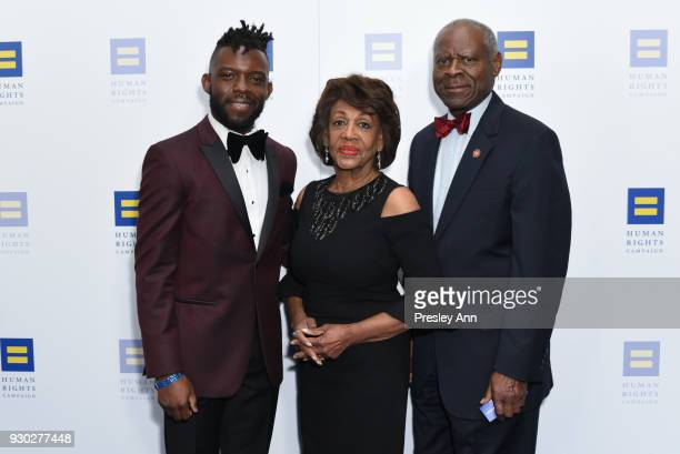 Maxine Waters and Sid Williams attends Human Rights Campaign's 2018 Los Angeles Gala Dinner Arrivals at JW Marriott Los Angeles at LA LIVE on March...
