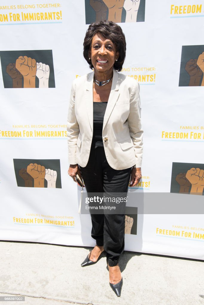 Maxine Waters attends 'Families Belong Together - Freedom for Immigrants March Los Angeles' at Los Angeles City Hall on June 30, 2018 in Los Angeles, California.