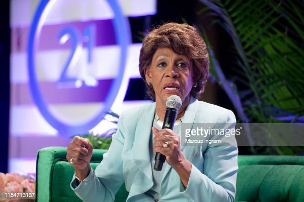 Maxine Waters speaks on stage during the Blavity Inc.'s Summit21 Influencer Conference for black women on June 08, 2019 in Atlanta, Georgia.
