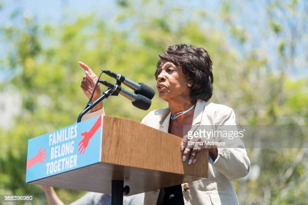 Maxine Waters speaks onstage at 'Families Belong Together Freedom for Immigrants March Los Angeles' at Los Angeles City Hall on June 30 2018 in Los...