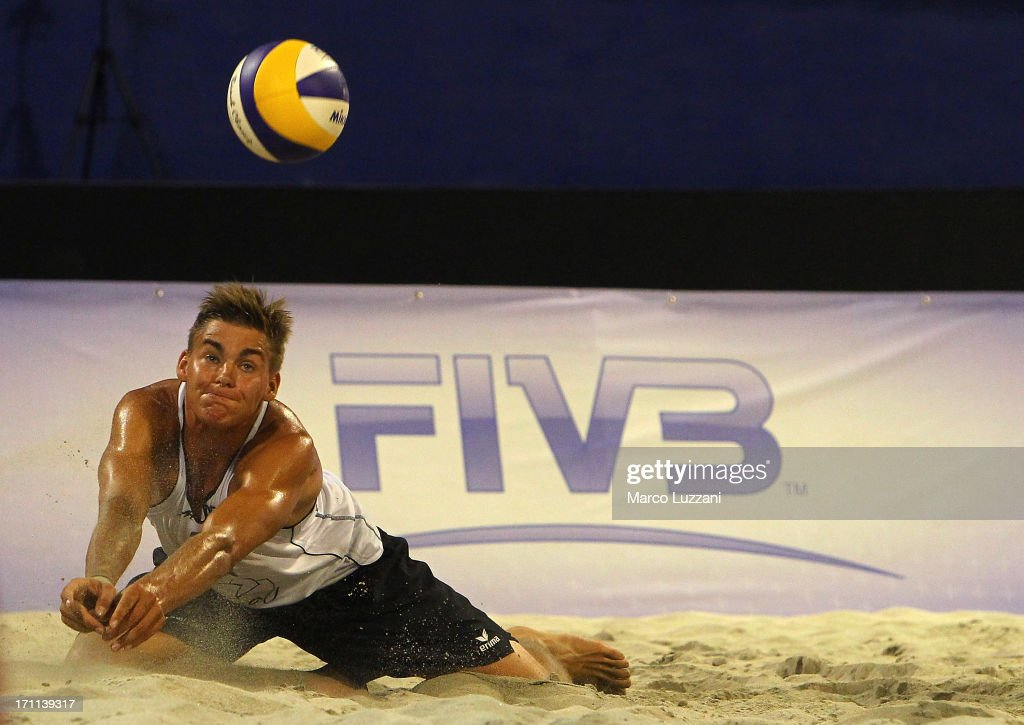 Max-Jonas Karpa of Germany saves the ball during FIVB Under 21 World Championships on June 22, 2013 in Umag, Croatia.