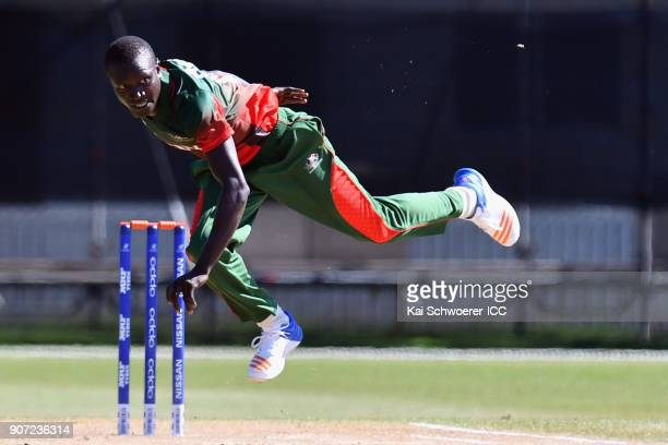 Maxwel Ager of Kenya bowls during the ICC U19 Cricket World Cup match between the West Indies and Kenya at Lincoln Oval on January 20 2018 in...