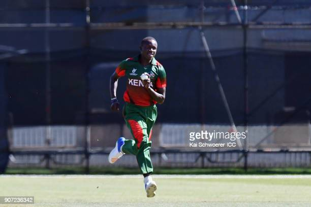 Maxwel Ager of Kenya runs in to bowl during the ICC U19 Cricket World Cup match between the West Indies and Kenya at Lincoln Oval on January 20 2018...
