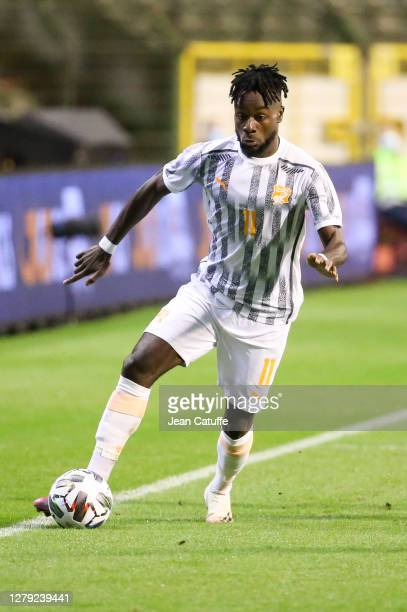 Maxwel Cornet of Ivory Coast during the International friendly match between Belgium and Ivory Coast at King Baudouin Stadium on October 8, 2020 in...