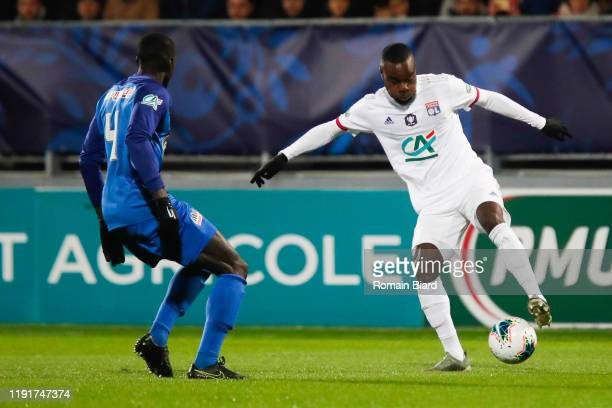 Maxwel CORNET of Lyon and Mamadou CAMARA of Bourg during the French Cup match between Bourg en Bresse and Lyon on January 4, 2020 in Bourg-en-Bresse,...