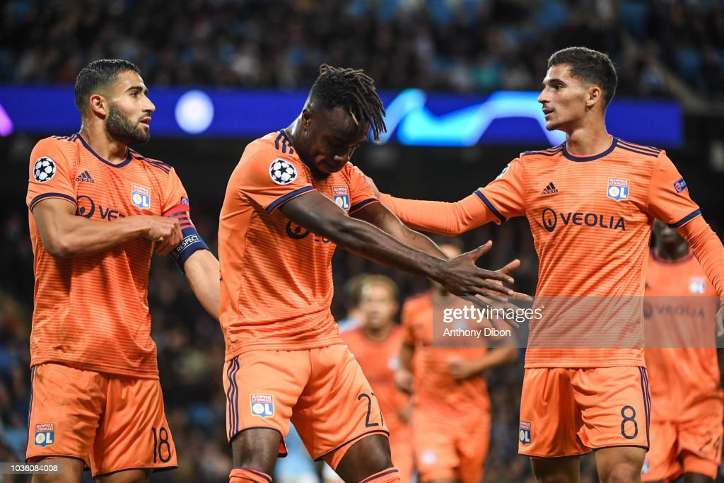 Maxwel Cornet Of Lyon Celebrates His Goal With Nabil Fekir And