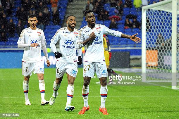Maxwel CORNET of lyon celebrates scoring his goal during the French Ligue 1 match between Olympique Lyonnais and Gazelec GFC Ajaccio at Stade des...