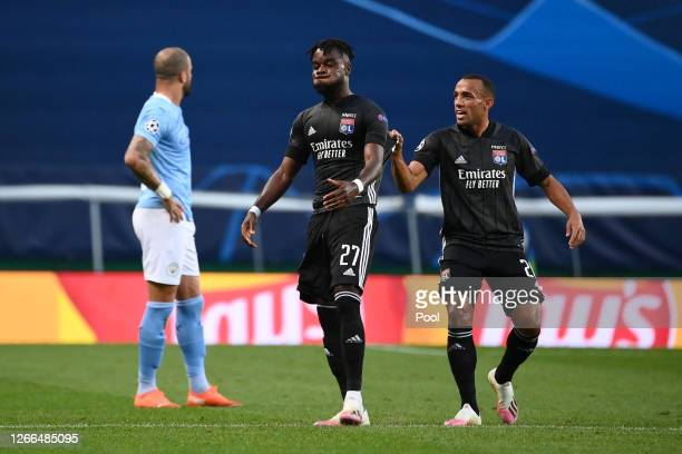 Maxwel Cornet of Olympique Lyon reacts during the UEFA Champions League Quarter Final match between Manchester City and Lyon at Estadio Jose Alvalade...