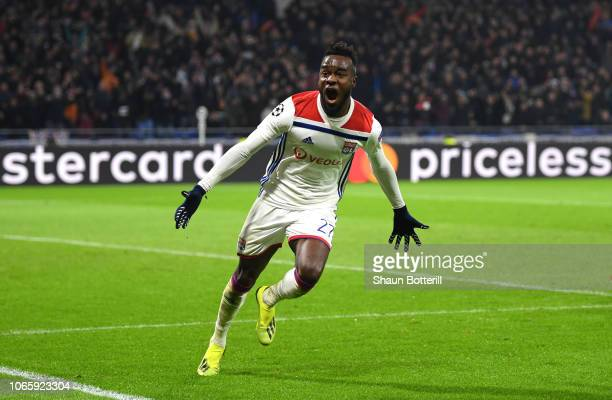 Maxwel Cornet of Olympique Lyonnais celebrates as he scores his team's second goal during the UEFA Champions League Group F match between Olympique...