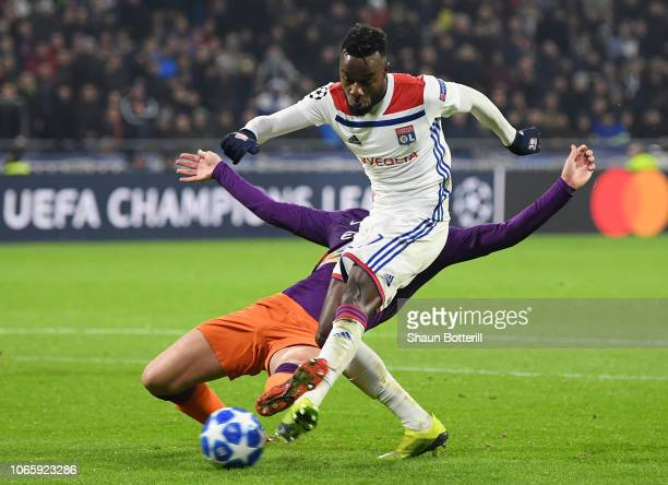 Maxwel Cornet of Olympique Lyonnais scores his team's second goal during the UEFA Champions League Group F match between Olympique Lyonnais and...