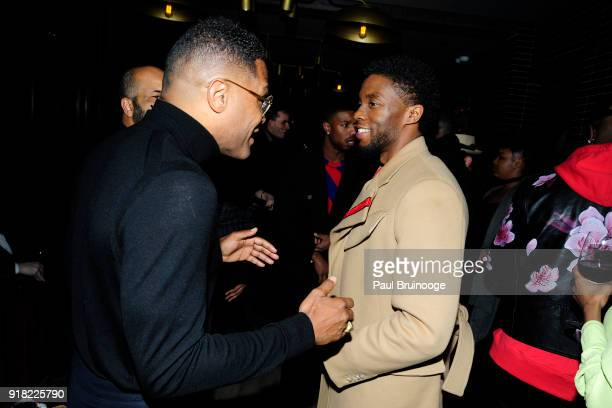 Maxwell and Chadwick Boseman attend The Cinema Society with Ravage Wines Synchrony host the after party for Marvel Studios' 'Black Panther' at The...