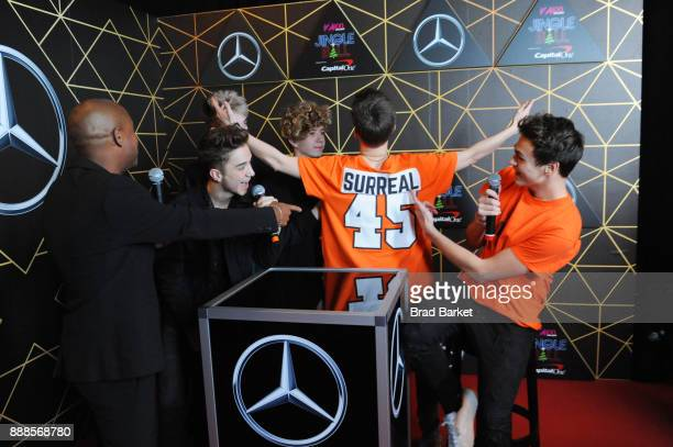 Maxwell and Why Don't We attends the Z100's Jingle Ball 2017 backstage on December 8 2017 in New York City