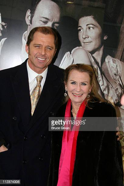 Maxwell Caulfield and Juliet Mills during A Moon for the Misbegotten Broadway Opening Arrivals at The Brooks Atkinson Theatre in New York City New...