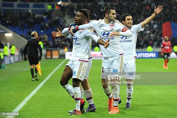 Maxwell CORNET and Maxime GONALONS of Lyon celebrate during the French Ligue 1 match between Olympique Lyonnais v EA Guingamp at Stade des Lumieres...