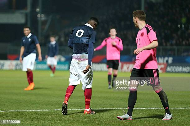 Maxwell Cornet of France during the Uefa U21 European Championship qualifier between France and Scotland at Stade Jean Bouin on March 24, 2016 in...