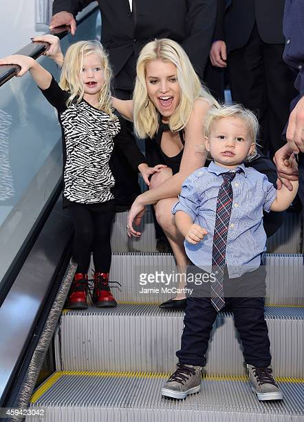 Maxwell Drew Johnson wearing Jessica Simpson Girls Jessica Simpson wearing Jessica Simpson Collection and Ace Knute Johnson attend Jessica Simpson...