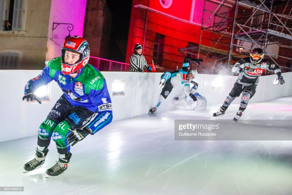 Maxwell Dunne during the Red Bull Crashed Ice Marseille 2018 on February 17, 2018 in Marseille, France.