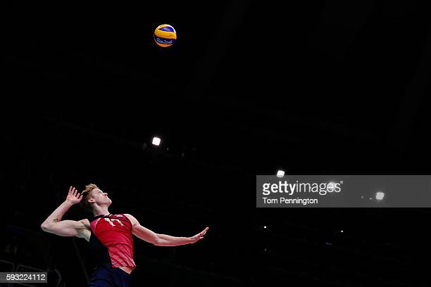 Maxwell Holt of United States serves during the Men's Bronze Medal Match between United States and Russia on Day 16 of the Rio 2016 Olympic Games at...
