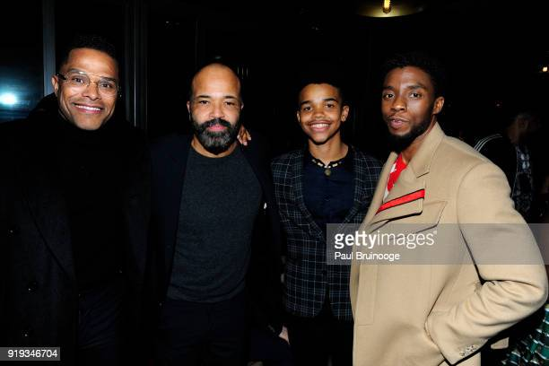 Maxwell Jeffrey Wright Elijah Wright and Chadwick Boseman attend The Cinema Society with Ravage Wines Synchrony host the after party for Marvel...