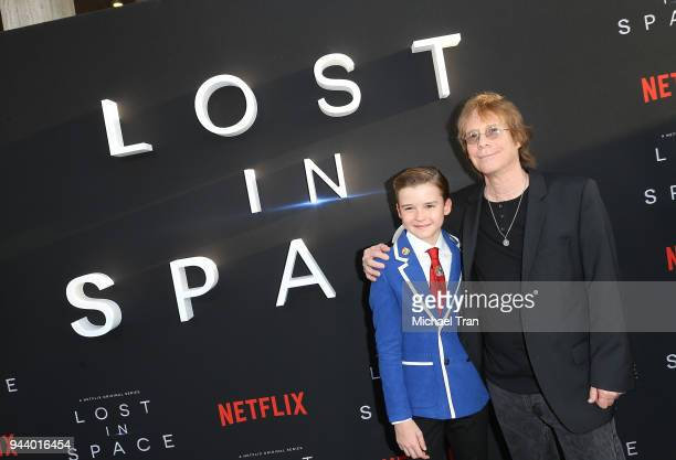 Maxwell Jenkins and Bill Mumy arrive to the Los Angeles premiere of Netflix's 'Lost In Space' Season 1 held at The Cinerama Dome on April 9 2018 in...