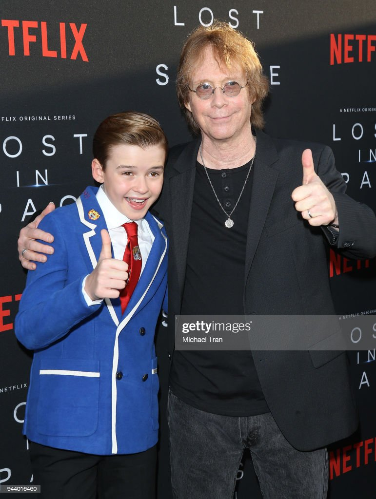 Maxwell Jenkins (L) and Bill Mumy arrive to the Los Angeles premiere of Netflix's 'Lost In Space' Season 1 held at The Cinerama Dome on April 9, 2018 in Los Angeles, California.