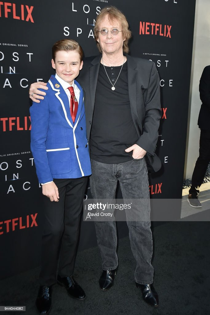 Maxwell Jenkins and Bill Mumy attend the 'Lost In Space' Season 1 Premiere at ArcLight Cinerama Dome on April 9, 2018 in Hollywood, California.
