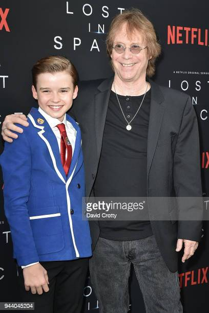 Maxwell Jenkins and Bill Mumy attend the 'Lost In Space' Season 1 Premiere at ArcLight Cinerama Dome on April 9 2018 in Hollywood California