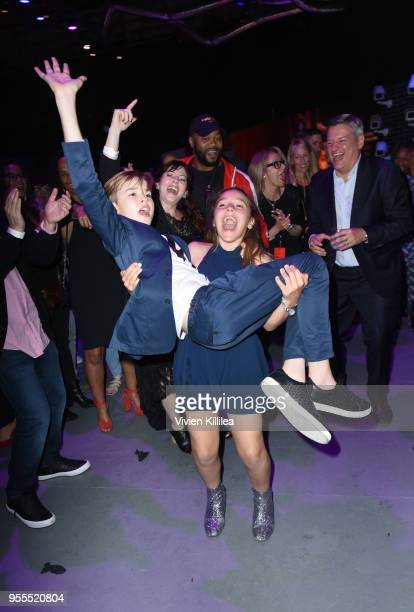 Maxwell Jenkins and Chief Content Officer for Netflix Ted Sarandos attend the Netflix FYSee Kick Off Party at Raleigh Studios on May 6 2018 in Los...