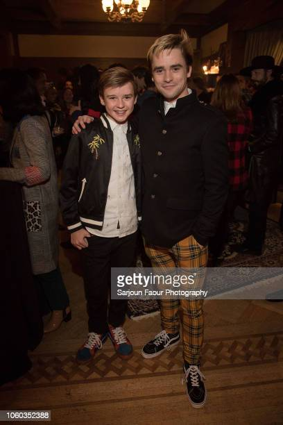 Maxwell Jenkins and Jack Gillett attend the special preview of Netflix's original series 'Chilling Adventures of Sabrina' at the Spellman House in...