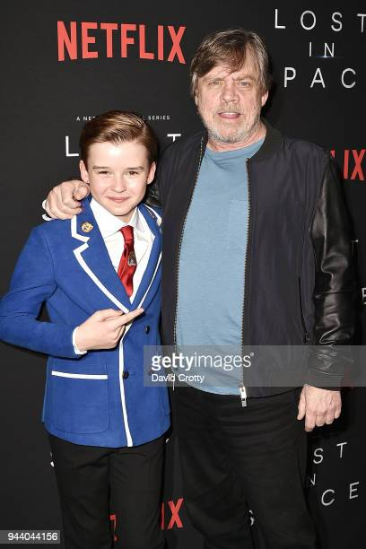 Maxwell Jenkins and Mark Hamill attend the 'Lost In Space' Season 1 Premiere at ArcLight Cinerama Dome on April 9 2018 in Hollywood California