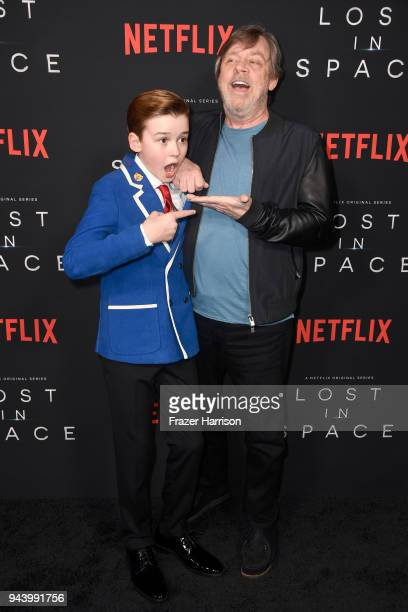 Maxwell Jenkins and Mark Hamill attend the premiere of Netflix's 'Lost In Space' Season 1 at The Cinerama Dome on April 9 2018 in Los Angeles...