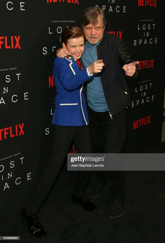 Maxwell Jenkins and Mark Hamill attend the premiere of Netflix's 'Lost In Space' Season 1 on April 9, 2018 in Los Angeles, California.
