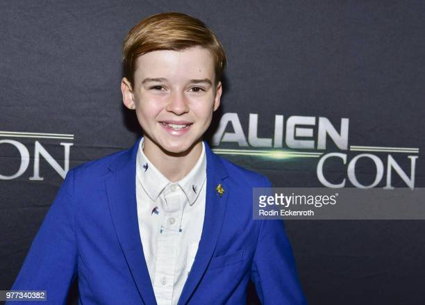 Maxwell Jenkins arrives at AE Networks Mischief Management Prometheus Entertainment present AlienCon 2018 at Pasadena Convention Center on June 17...