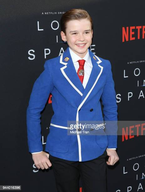 Maxwell Jenkins arrives to the Los Angeles premiere of Netflix's 'Lost In Space' Season 1 held at The Cinerama Dome on April 9 2018 in Los Angeles...