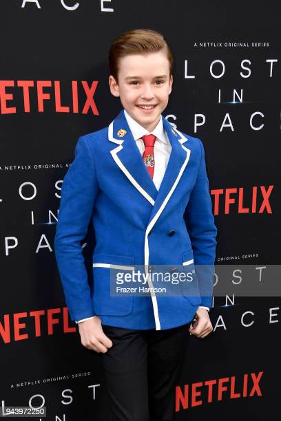 Maxwell Jenkins attends the premiere of Netflix's 'Lost In Space' Season 1 at The Cinerama Dome on April 9 2018 in Los Angeles California