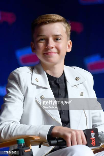 Maxwell Jenkins onstage during the Netflix Presents Lost in Space panel at New York Comic Con 2019 Day 3 at Jacob K Javits Convention Center on...