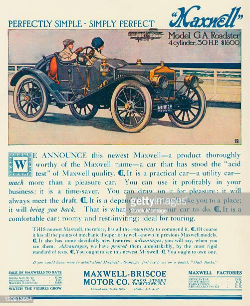 "A Maxwell Model GA Roadster is pictured in a magazine advertisement from 1910 The ad states ""It is a practical car — a utility car — much more than a..."