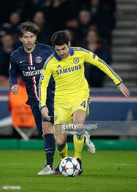 Maxwell of Paris Saint Germain Cesc Fabregas of Chelsea during the champions laegue match between Paris Saint Germain and Chelsea at Parc des Princes...