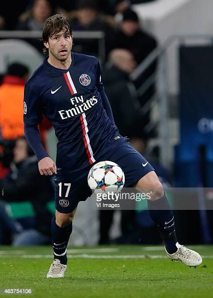 Maxwell of Paris Saint Germain during the champions laegue match between Paris Saint Germain and Chelsea at Parc des Princes on February 17 2015 in...