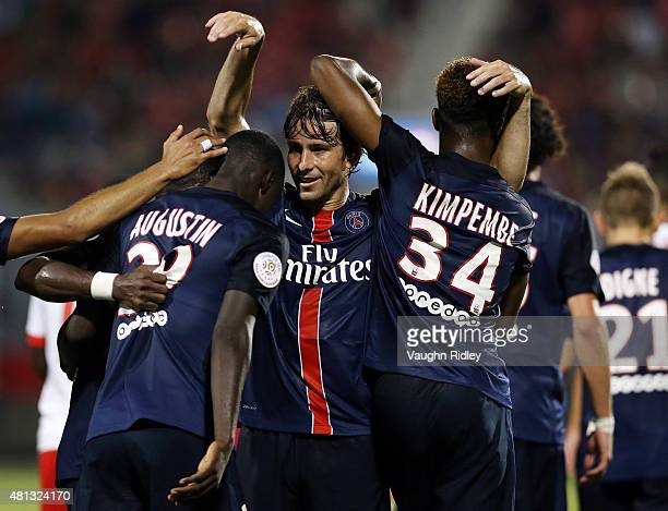 Maxwell of Paris SaintGermain celebrates a goal during the 2015 International Champions Cup match against Benfica at BMO Field on July 18 2015 in...