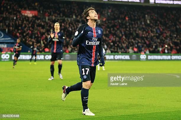 Maxwell of Paris SaintGermain celebrates his goal during the French Ligue 1 between Paris SaintGermain and SC Bastia at Parc Des Princes on january 8...