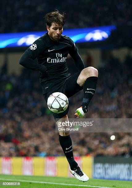 Maxwell of Paris SaintGermain controls the ball during the UEFA Champions League quarter final second leg match between Manchester City FC and Paris...