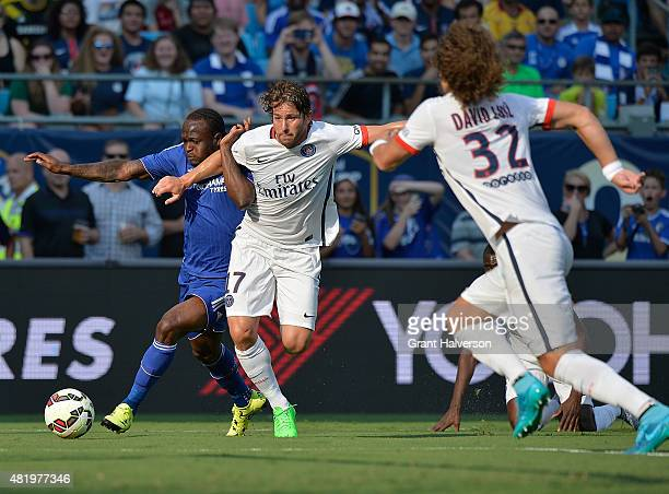 Maxwell of Paris SaintGermain defends Victor Moses of Chelsea during their International Champions Cup match at Bank of America Stadium on July 25...