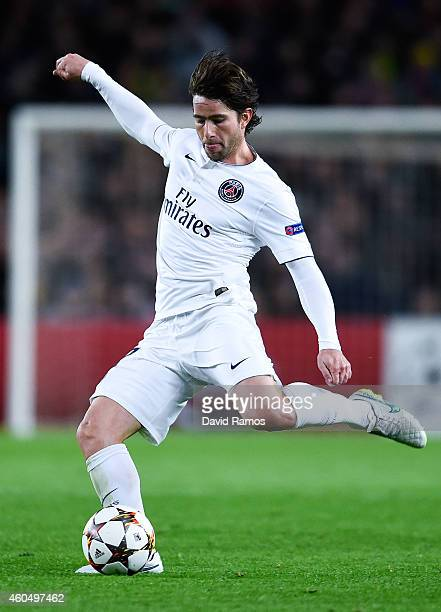 Maxwell of Paris SaintGermain FC runs with the ball during the UEFA Champions League group F match between FC Barcelona and Paris SaintGermanin FC at...